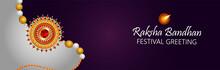 Raksha Bandhan Celebration Banner Or Header With Creative Rakhi