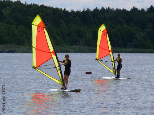 cloudy windsurfers