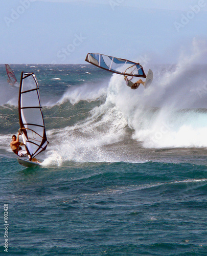 a windsurfer goes horizontal in waves