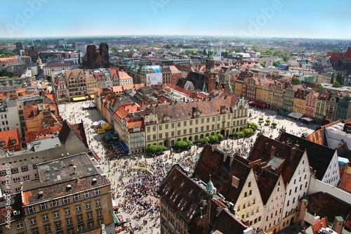wroclaw town market from above