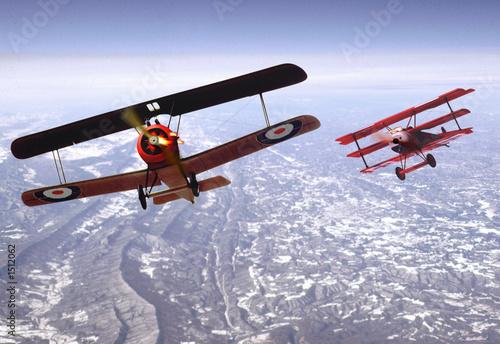 Billede på lærred biplane dogfight