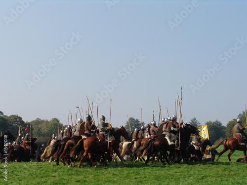 norman cavalry charge across field of battle Fototapet