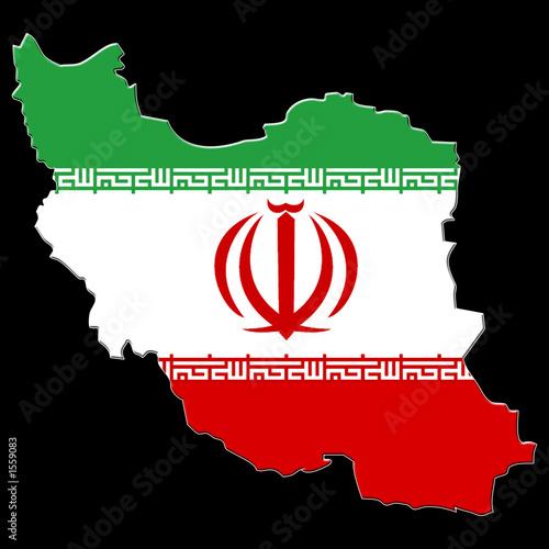 Fototapeta carte drapeau d' iran