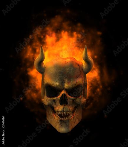 Obraz na plátne flaming demon skull