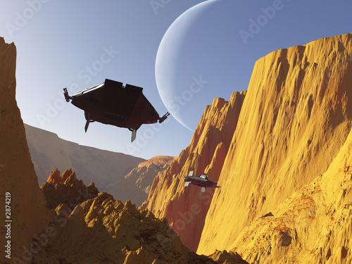 Billede på lærred science fiction dogfight (2)