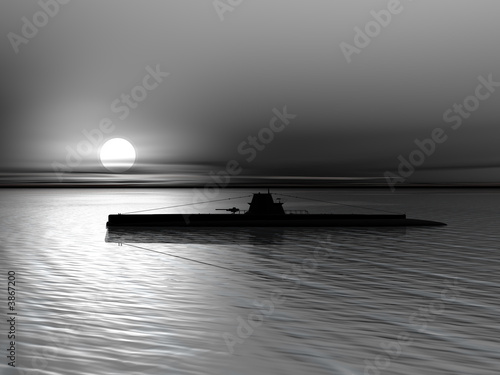Canvas Print Submarine on a background of a sunset on the sea