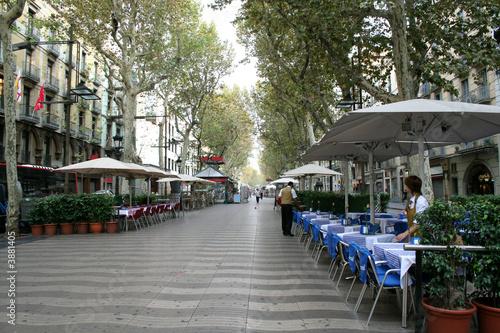 Rambla street in morning. Barcelona, Spain.