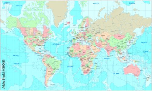 Fototapeta premium Polityczna mapa świata