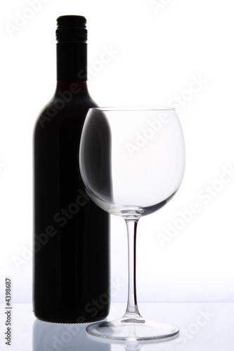 Fotografie, Obraz Láhev vína a skla