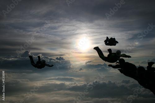 Fotografie, Obraz Silhouette Skydivers