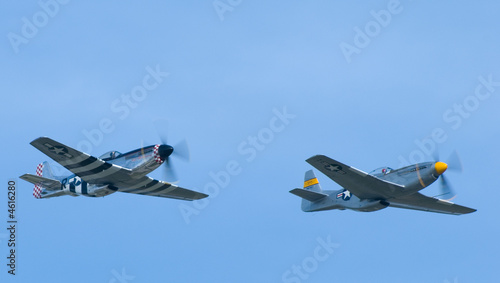 Photo Two P-51 Mustang Airplanes