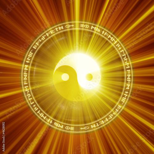 Canvas Print A Yin-Yang icon illuminated from behind.