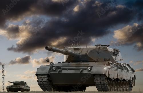 Canvas Print Tank Battle