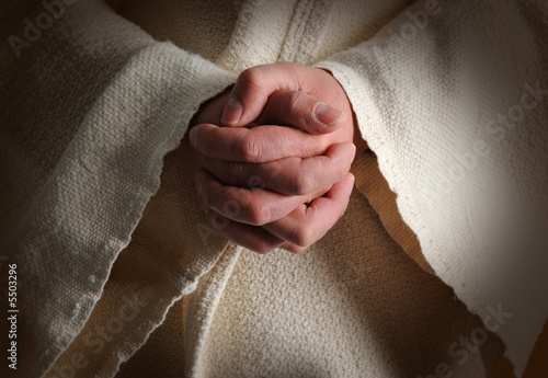 Canvas Print The hands of Jesus clasped in prayer