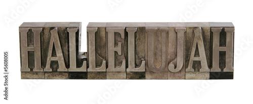 Fotografie, Obraz hallelujah in letterpress metal type