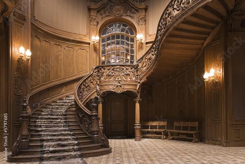 Obraz na plátně Stairs in the Lviv ancient casino