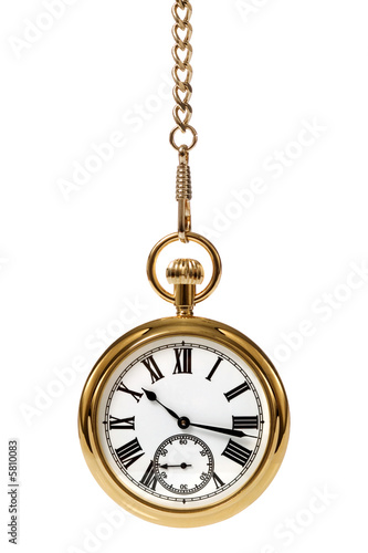 Gold pocket watch and chain, isolated on a white background.