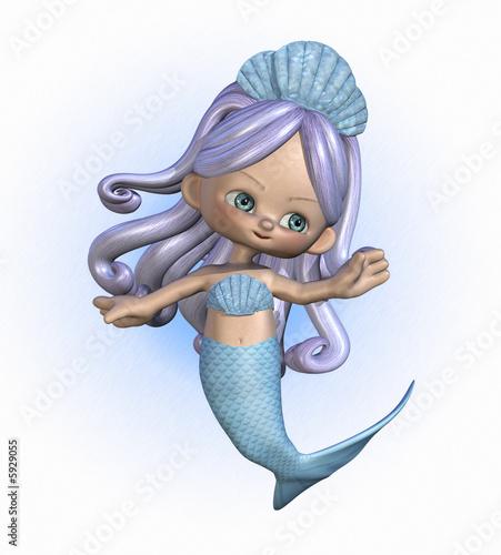 3D render of a cute cartoon mermaid.