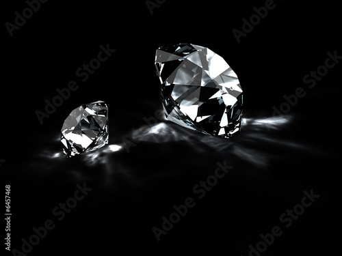 Diamonds with reflections isolated on black. 3D render. #6457468