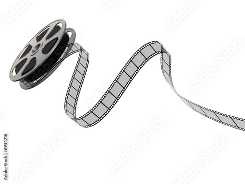 Film reel and strip on a white background #6934216