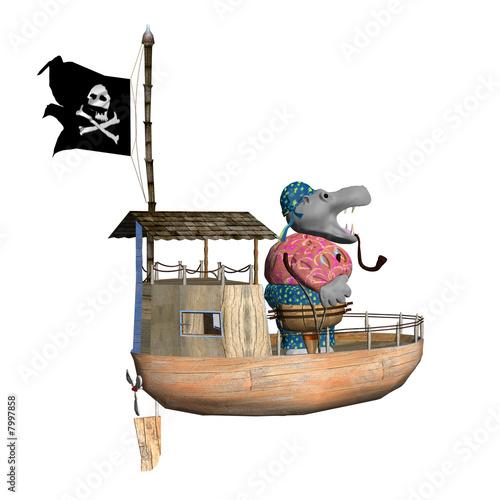 Wallpaper Mural white background - hippo pirate