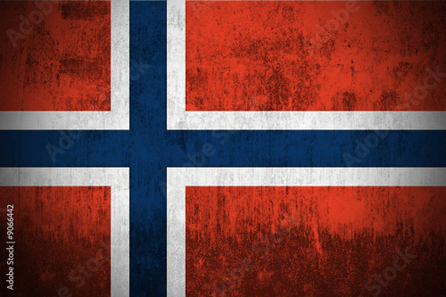Wallpaper Mural Weathered Flag Of Norway, fabric textured..