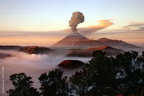 Volcano with smoke Fototapeta