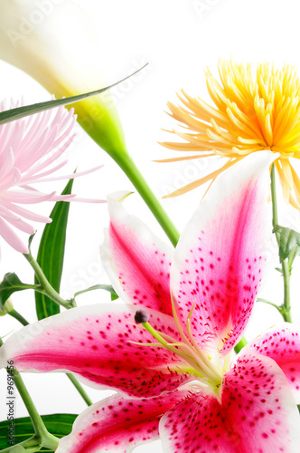 spring floral arrangement with assorted flowers isolated