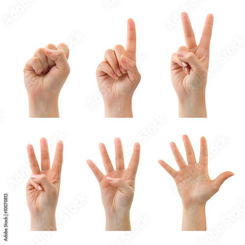 Photo Counting woman hands (0 to 5) isolated on white background