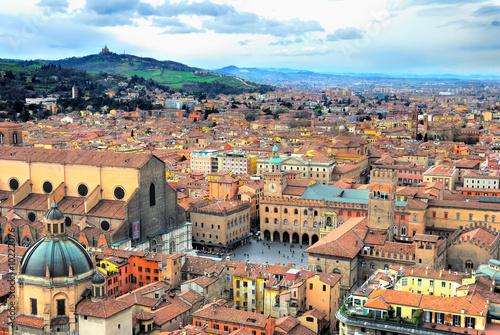 Obraz na plátně Italy, Bologna aerial view from Asinelli tower.