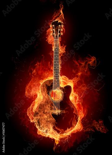 Fotografie, Obraz Fire guitar