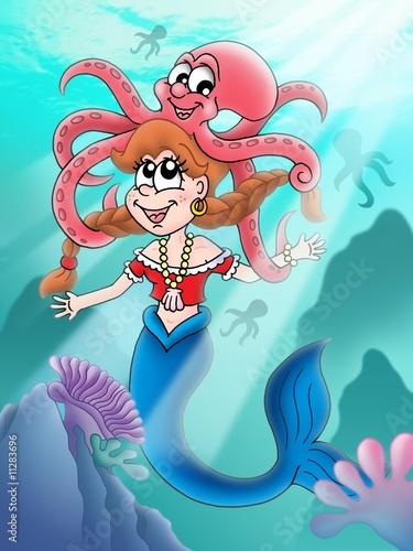 Cute mermaid with octopus