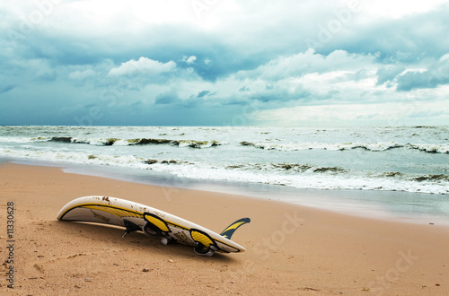 Board for windsurfing on the beach