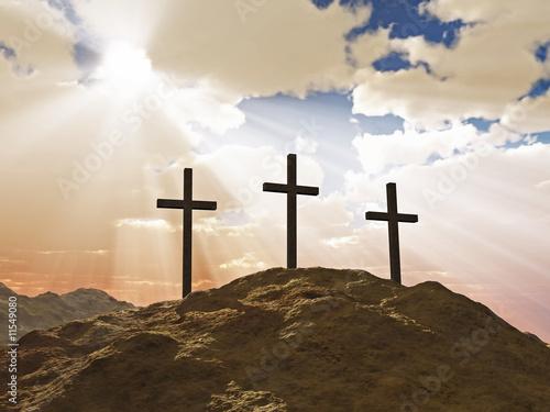 Foto Drei Kreuze auf dem Kalvarienberg