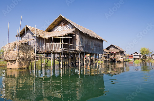 Traditional wooden stilt houses at the Inle lake Poster Mural XXL