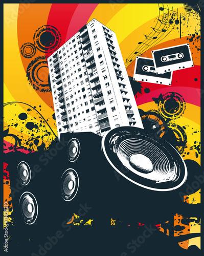 Music high rise block vector illustration #13020210