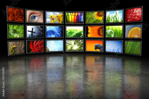 Several TVs with images #13350095