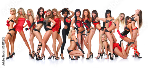 Canvas Group of sixteen beautiful young women poses in front of the cha