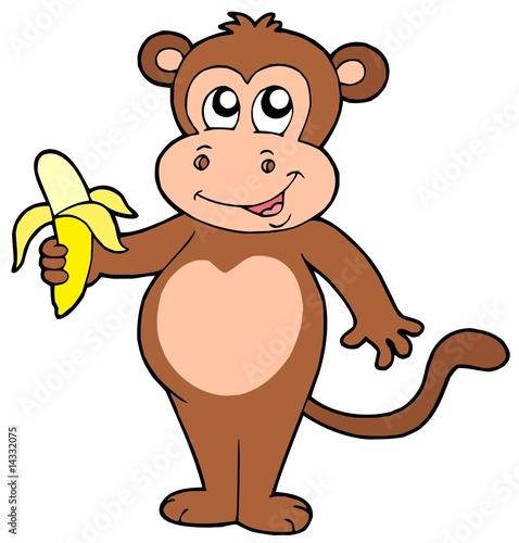 Платно Cute monkey with banana