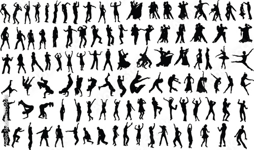 Valokuva silhouettes of dancing people