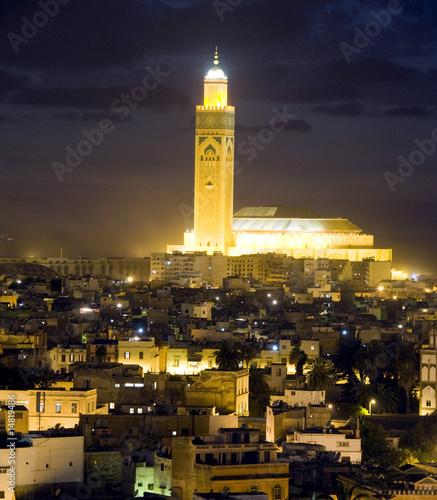 hassan II mosque night scene in casablanca morocco africa