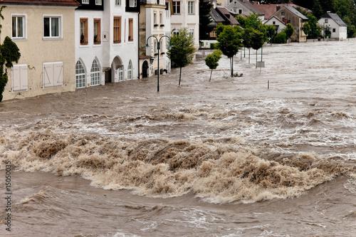 Stampa su Tela Hochwasser und Überflutung in Steyr, Österreich