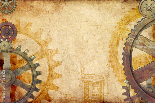 Steampunk Gears and Cogs Background Fototapeta