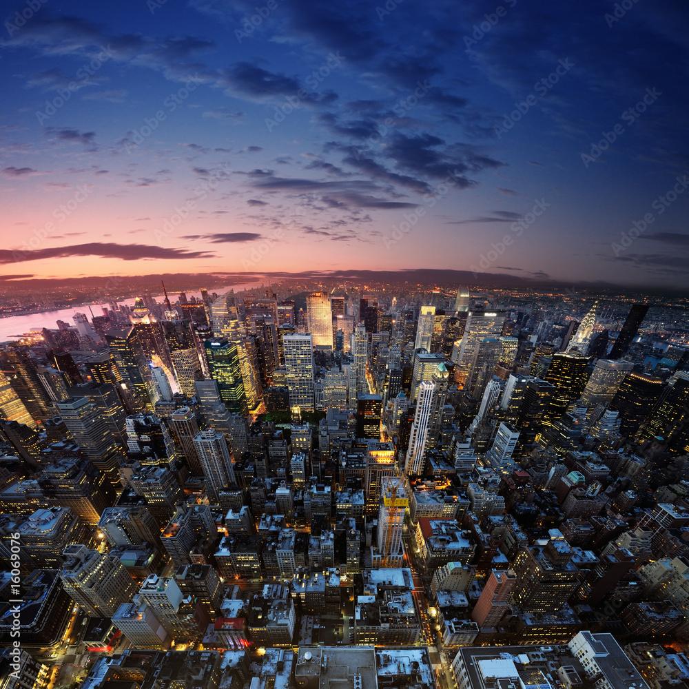 Leinwandbild Motiv - dell : Manhattan at sunset