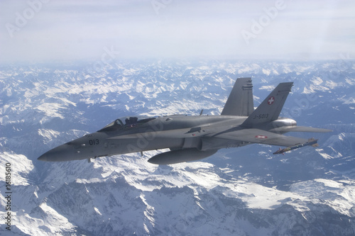 Canvas Print Swiss Air Force F/A-18C Hornet jet aircraft over Swiss alps