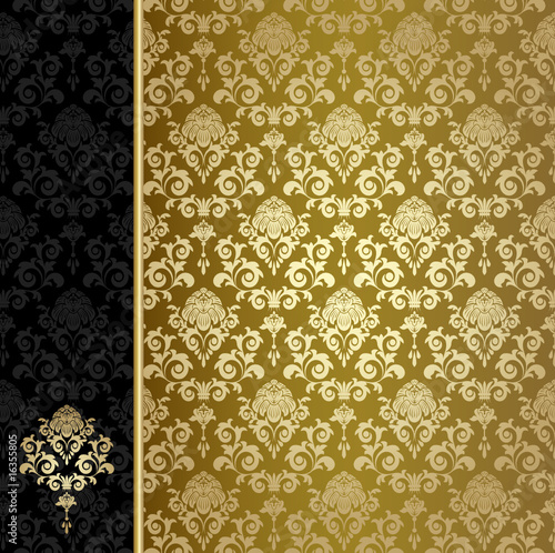Background with gold flowers and leaves #16355805
