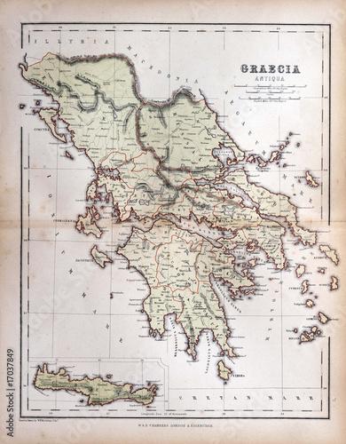 Wallpaper Mural Old map of Greece, 1870