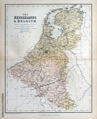 Canvas Print Old map of the Netherlands & Belgium, 1870