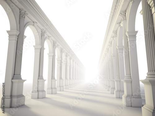Classical colonnade with arcades and Corinthian columns Fotobehang