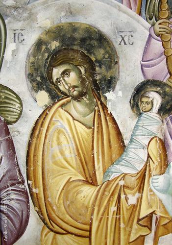 Fototapeta Virgin's resurrection. Detail from medieval fresco